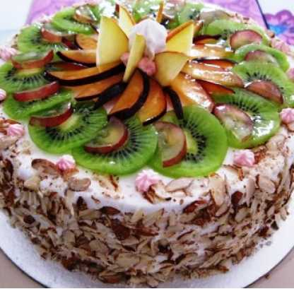 Fresh Fruit Almond Cake (1 Kg)