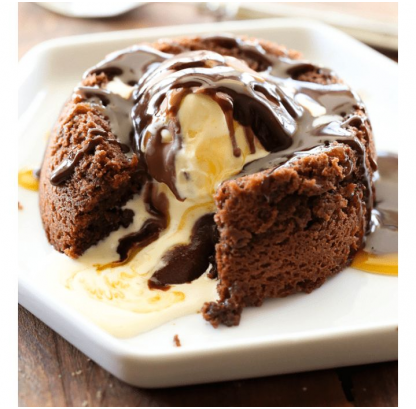 Choco Lava Cake With Walnut Fudge Sauce